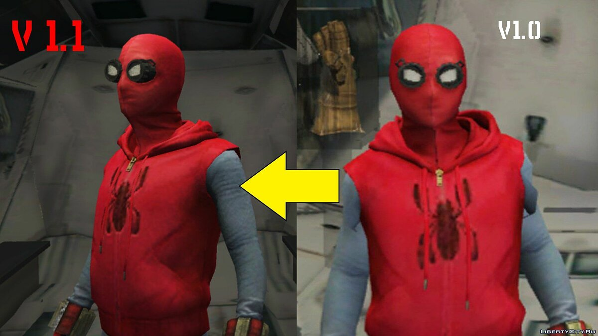 ��овий персонаж Spider-Man Home-Made Suit (Fixed shaking issue) 1.2 для GTA 5