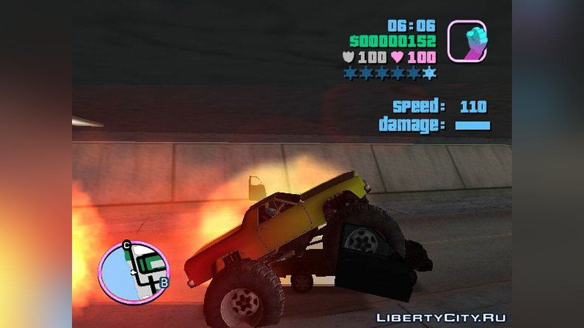 Вантажівка Marshall Monster Truck for Vice City (MVL) v. 1.0 для GTA Vice City