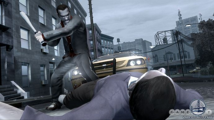 Удар битою в GTA 4